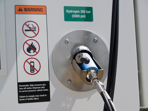 Close up of a hydrogen fuel dispenser for vehicles.